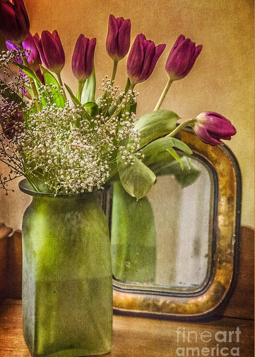 Tulip Greeting Card featuring the photograph The Tulips Stand Arrayed - A Still Life by Terry Rowe