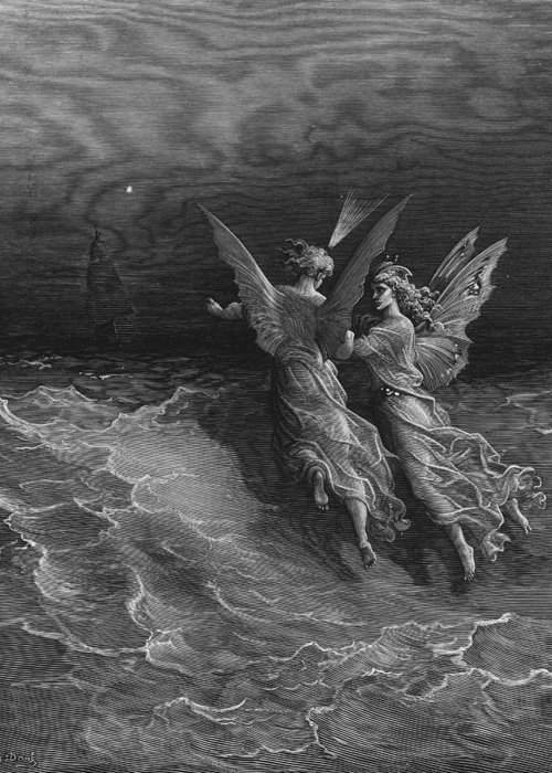 Vessel; Sea; Angels; Dore Greeting Card featuring the drawing The Two Fellow Spirits Of The Spirit Of The South Pole Ask The Question Why The Ship Travels by Gustave Dore