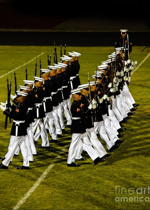 Tunited States Greeting Card featuring the photograph The United States Marine Corps Silent Drill Platoon by Robert Bales