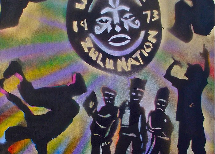 Hip Hop Greeting Card featuring the painting The Universal Zulu Nation by Tony B Conscious