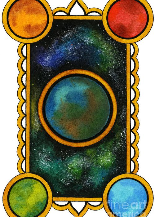 Universe Greeting Card featuring the painting The Universe by Nora Blansett
