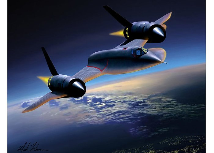 Airplane Greeting Card featuring the painting The Untouchable Sr-71 Blackbird by Mark Karvon