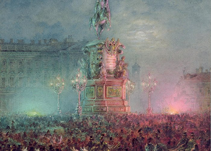 Tsar Nikolai Greeting Card featuring the painting The Unveiling Of The Nicholas I Memorial In St. Petersburg by Vasili Semenovich Sadovnikov