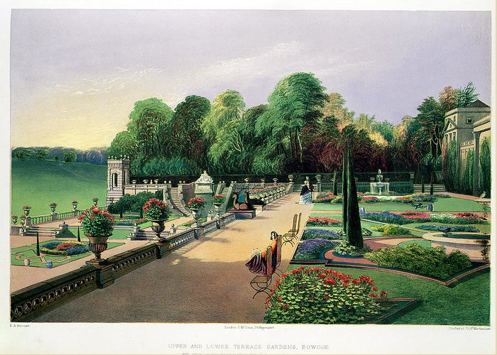 Formal Greeting Card featuring the drawing The Upper And Lower Terrace Gardens by E. Adveno Brooke