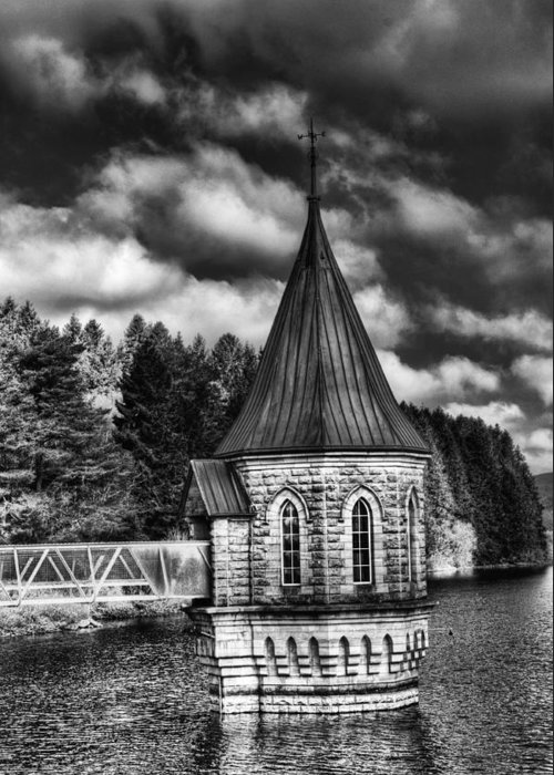 The Valve Tower Greeting Card featuring the photograph The Valve Tower Mono by Steve Purnell