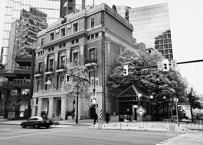 Vancouver Greeting Card featuring the photograph the vancouver club building west hastings street heritage district Vancouver BC Canada by Joe Fox