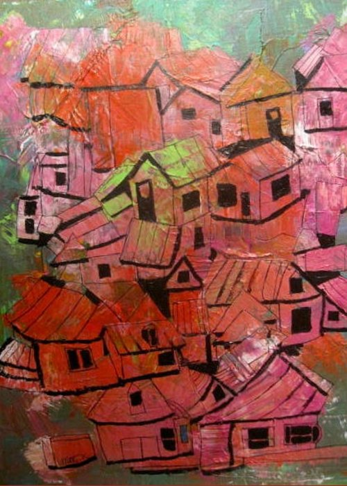 Abstract Greeting Card featuring the painting The Village In Foliage by Michael Litvack