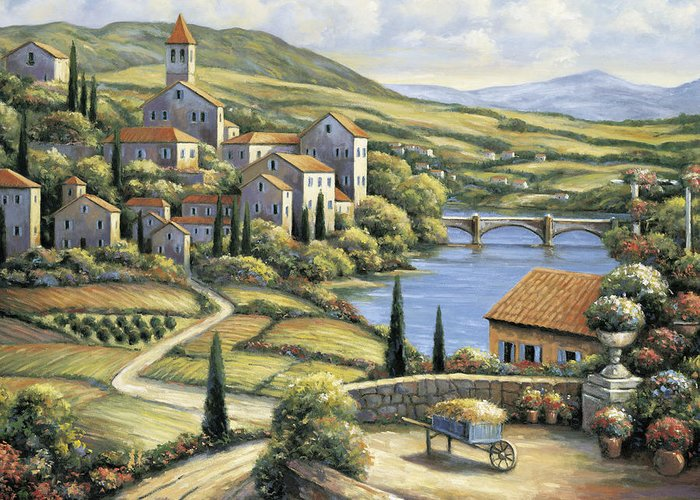 Pallet Greeting Card featuring the painting The Village by John Zaccheo
