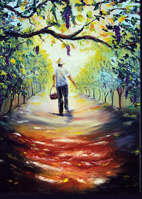 Winery Greeting Card featuring the painting The Vintner by Meaghan Troup