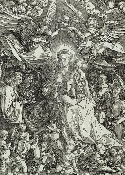 Religion; Religious; Christianity; Christian; New Testament; Mary; Virgin; Jesus; Christ; Mother; Baby; Angel; Cherub; Male; Female Greeting Card featuring the painting The Virgin And Child Surrounded By Angels by Albrecht Durer or Duerer