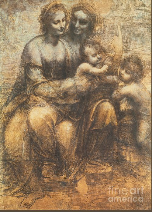 Mother; Child; Drawing; Cartoon; John The Baptist; Infant; Meeting; Serene; Serenity; Saint; Anne; Saints; Family; Holy Family; Children; Smile; Smiles; Tender; Tenderness; Infant Greeting Card featuring the drawing The Virgin And Child With Saint Anne And The Infant Saint John The Baptist by Leonardo Da Vinci