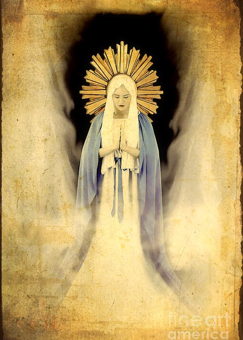 Mary Greeting Card featuring the painting The Virgin Mary Gratia Plena by Cinema Photography