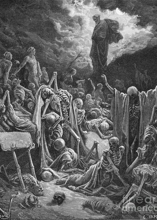 Prophet Greeting Card featuring the painting The Vision Of The Valley Of Dry Bones by Gustave Dore
