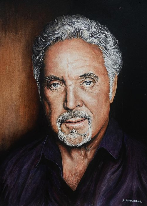 Tom Jones Greeting Card featuring the painting The Voice by Andrew Read