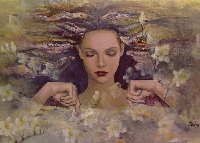 Fantasy Greeting Card featuring the painting The Voice Of The Thoughts by Dorina Costras