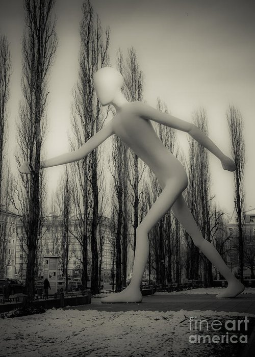 Bavaria Greeting Card featuring the photograph The Walking Man - Bw by Hannes Cmarits
