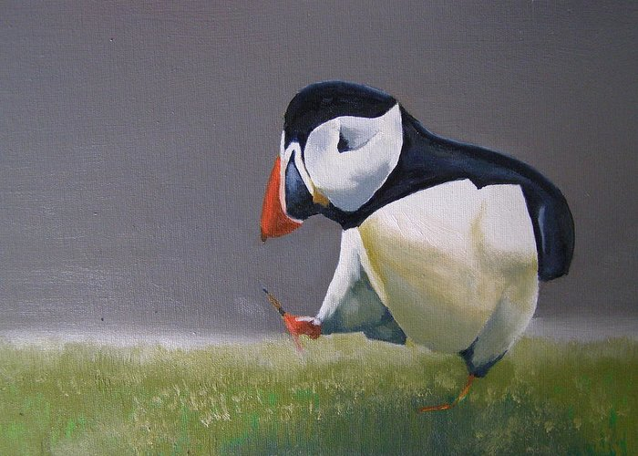 Puffin Greeting Card featuring the painting The Walking Puffin by Eric Burgess-Ray