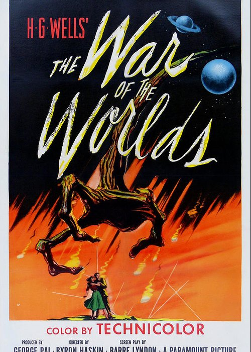 The War Of The Worlds Greeting Card featuring the digital art The War Of The Worlds by Georgia Fowler