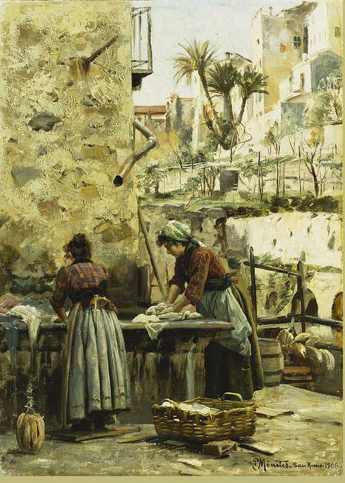 1900s Greeting Card featuring the painting The Washerwomen by Peder Monsted