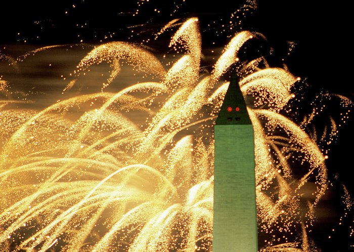 Firework Display Greeting Card featuring the photograph The Washington Monument And Fireworks by Hisham Ibrahim