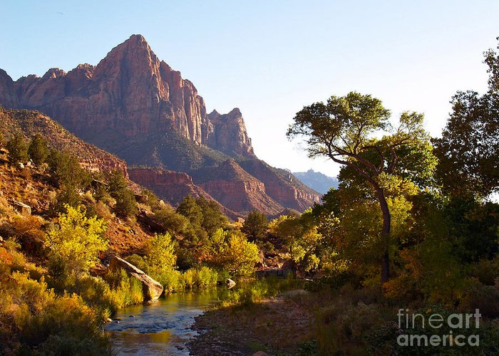 Landscape Greeting Card featuring the photograph The Watchman Of Zion by Alex Cassels