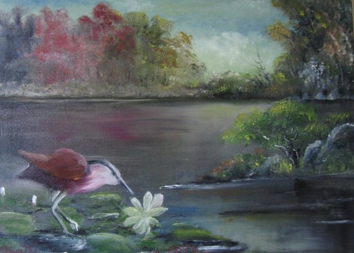 Birds Greeting Card featuring the painting The Water Bird by M Bhatt