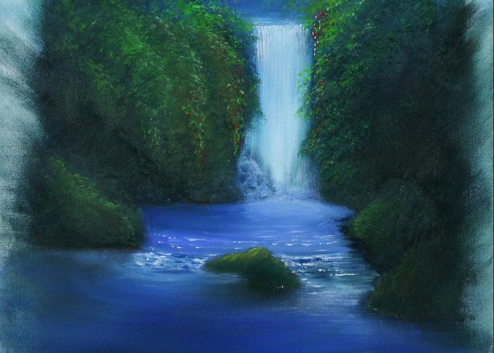 Dave Greeting Card featuring the painting The Waterfall by David Kacey
