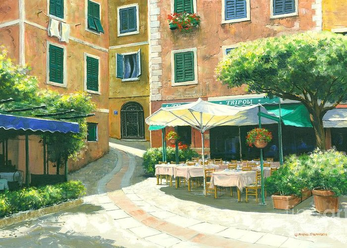 Portofino Cafe Greeting Card featuring the painting The Way Home by Michael Swanson