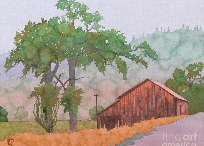 Watercolor Greeting Card featuring the painting The Way To Napa by Robert Hooper