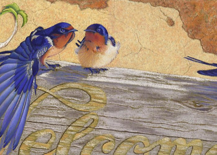 Bird Greeting Card featuring the pastel The Welcome Committee by Tracy L Teeter