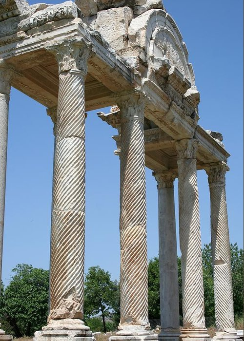 Aphrodisias Greeting Card featuring the photograph The Western Pediment Of The Tetrapylon by Tracey Harrington-Simpson