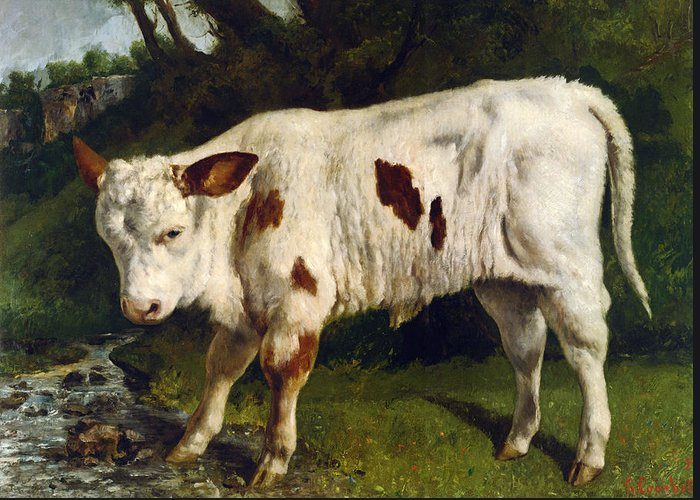 The White Calf Greeting Card featuring the digital art The White Calf by Gustave Courbet