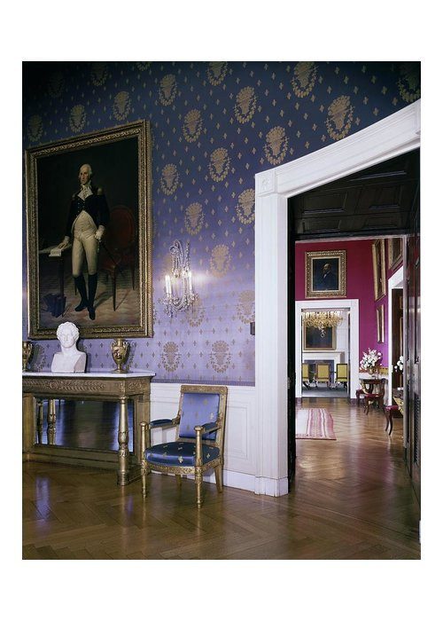 Antique Greeting Card featuring the photograph The White House Blue Room by Tom Leonard