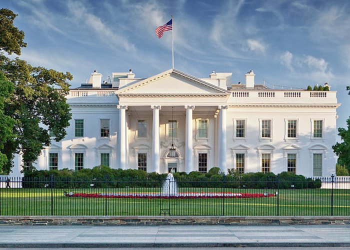Flowerbed Greeting Card featuring the photograph The White House by Caroline Purser