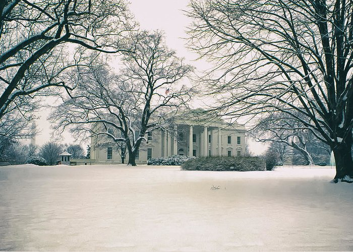 Historic Snowy Mansion Greeting Cards