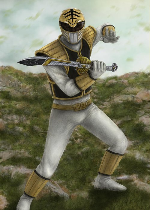 Power Rangers Greeting Card featuring the digital art The White Ranger by Michael Tiscareno