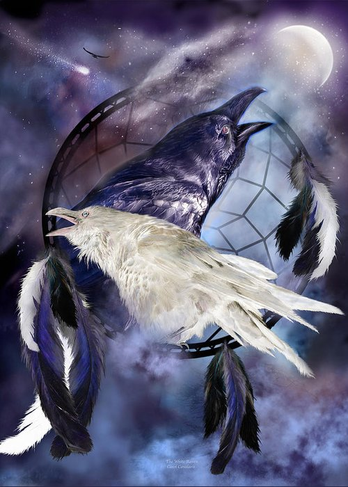 Carol Cavalaris Greeting Card featuring the mixed media The White Raven by Carol Cavalaris