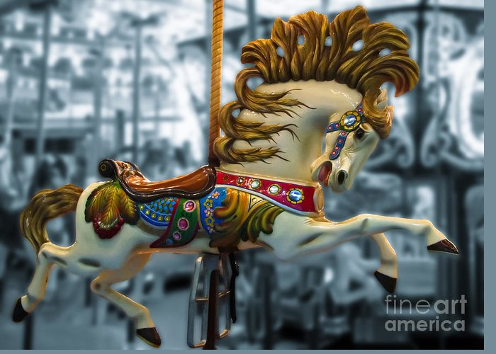 Carousel Greeting Card featuring the photograph The Wild Stallion by Colleen Kammerer