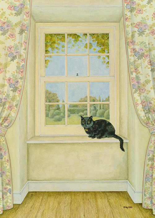 Nets Greeting Card featuring the painting The Window Cat by Ditz
