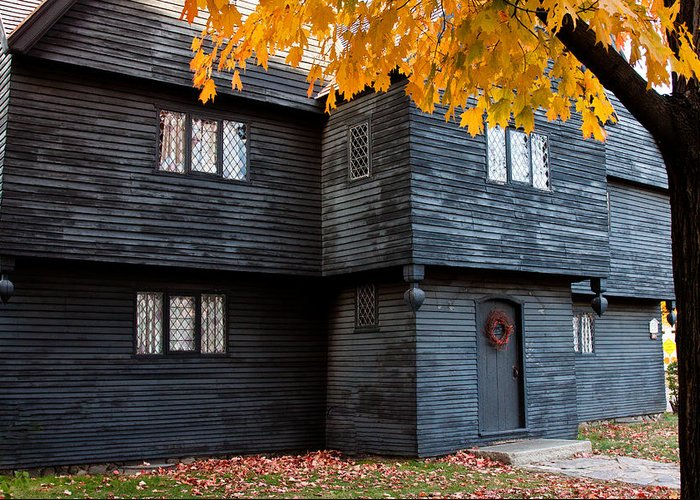 Salem Greeting Card featuring the photograph The Witch House by Jeff Folger