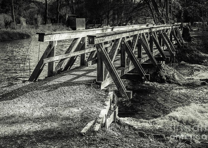 Amper Greeting Card featuring the photograph The Wooden Bridge by Hannes Cmarits