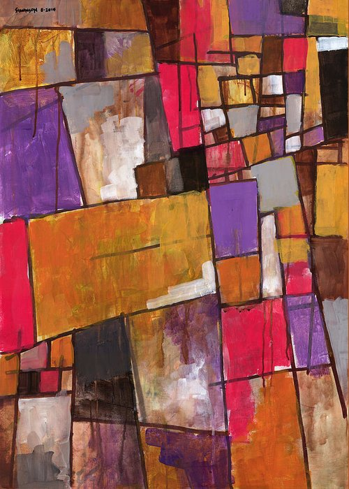 Abstract Greeting Card featuring the painting The World Fell Away by Douglas Simonson