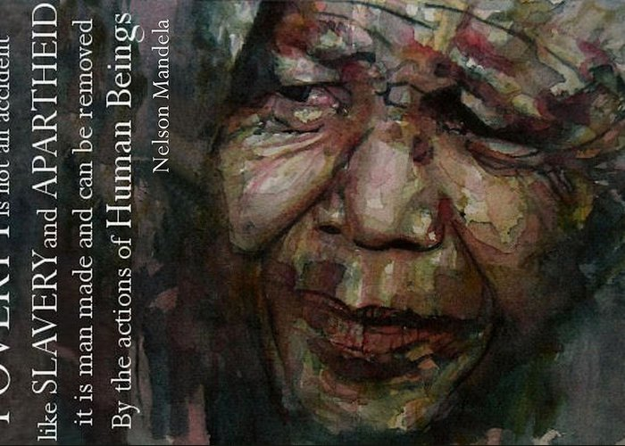 Nelson Mandela Greeting Card featuring the painting The World Holds It's Breathe by Paul Lovering