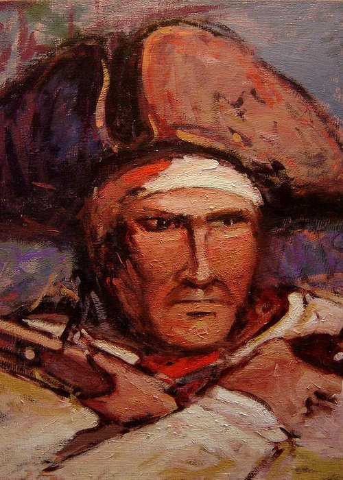 Patriot Greeting Card featuring the painting The Wounded Patriot by R W Goetting