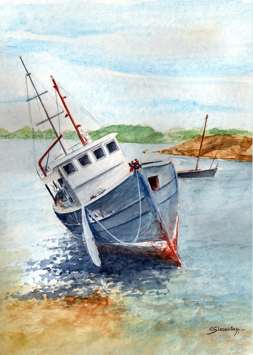 Wreck Greeting Card featuring the painting The Wreck by Christian Simonian