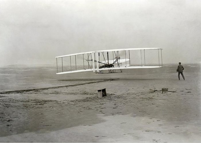 Human Greeting Card featuring the photograph The Wright Brothers' First Powered by Science Photo Library