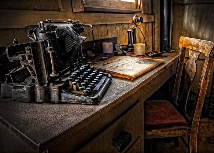 Appalachia Greeting Card featuring the photograph The Writer's Desk by Debra and Dave Vanderlaan