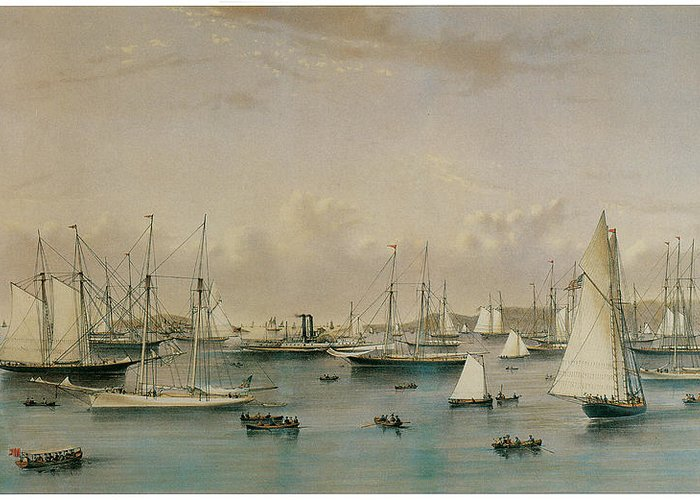 Natuaniel Currier Greeting Card featuring the painting The Yacht Squadron At Newport by Nathaniel Currier and James Merritt Ives