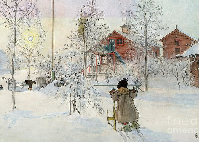 Wash House; Snow; Winter; Sledge; Playing; Garden; House; Child; Children; Scandinavian Vernacular Architecture; Swedish Greeting Card featuring the painting The Yard And Wash House by Carl Larsson