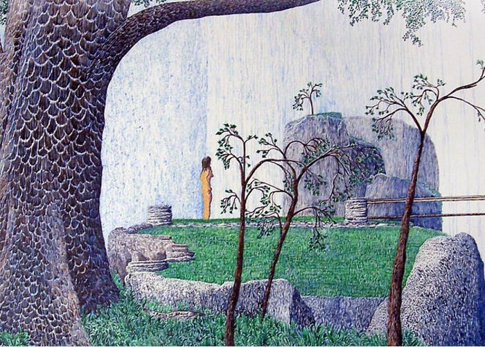 Landscape Greeting Card featuring the painting The Yearning Tree by A Robert Malcom